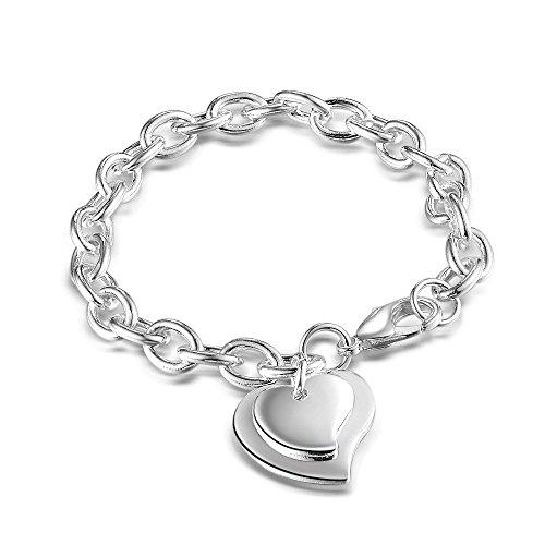 Nuovo bellissimo NYKKOLA Gioiello in argento Sterling 925, pendente a forma di doppio cuore placcati-Bracciale da donna