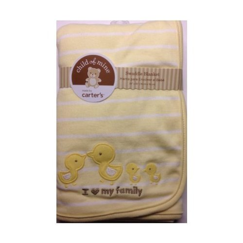 """Carter'S Child Of Mine Yellow White Stripe Ducky """"I Love My Family"""" Baby Newborn Swaddle Blanket Embroidered Ducks front-160116"""