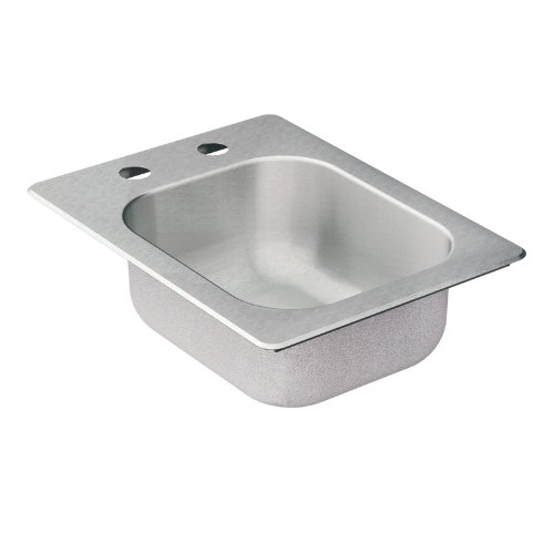 Moen 22246 Camelot 2 Hole Stainless Steel 20 Gauge Single Bowl Drop In Sink, Stainless