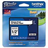 Brother TZE345 - TZE-345 LAMINATED TAPE 18MM 8M - WHITE ON BLACK