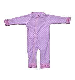 SwimZip Baby Girl Long Sleeve Sunsuit with UPF 50+ Pink 18-24 Month