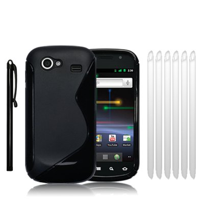 "SAMSUNG GOOGLE NEXUS S ""S"" CURVE GEL CASE - BLACK, WITH 6 SCREEN PROTECTORS & 1 STYLUS"