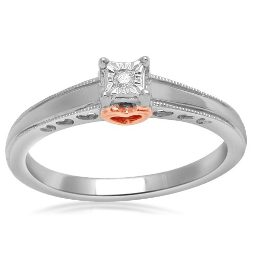 Sterling Silver White Diamond Heart Ring (0.02 cttw, I-J Color, I3 Clarity), Size 7