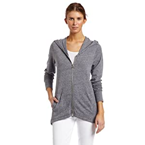 C&C California Women's Triblend Hi Low Hoodie, Heather Grey, Medium