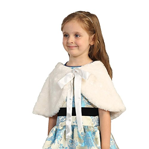Angels Garment Toddler Baby Girls Off White Faux Fur Wrap Bow Collar Cape 4T