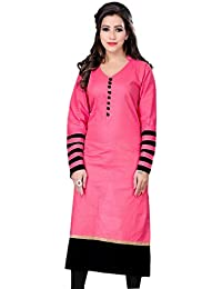 Ethnic For You Women's Pink & Black Cotton Plain Full Stiched Kurti (Size : XL)