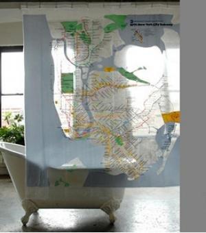 New York Metro EVA Hookless Shower Curtain Yanfang