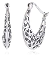 Sterling Silver Bali-Inspired Filigree Round Hoop Earrings from Amazon Curated Collection