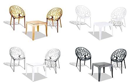 CLP 3 teilige Sitzgruppe ARENDAL, 2 stapelbare Stuhle + stapelbarer Tisch ca. 50 x 50 cm, sehr leicht, wetterfest, bis zu 4 Farben wählbar Weiß glanz