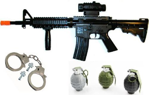 Toy Gun m16A4 Electronic Sound Rifle With Scope TOy Guns for kids + 3 realisitc ticking grenades + metal stainless steel handcuffs
