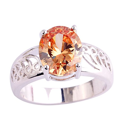 Psiroy 925 Sterling Silver Exquisite Oval Cut Morganite Solitaire Filled Ring for Woman (99 Dollar compare prices)