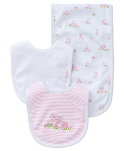 Little Me Baby Girls' 3 Piece Bib and Burp Set, Bunnies, Pink/Multi, One Size