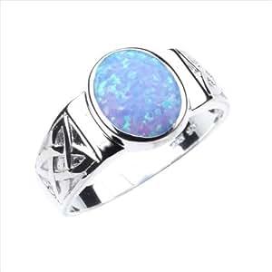 Opal & 925 Sterling Silver Ring Celtic Design