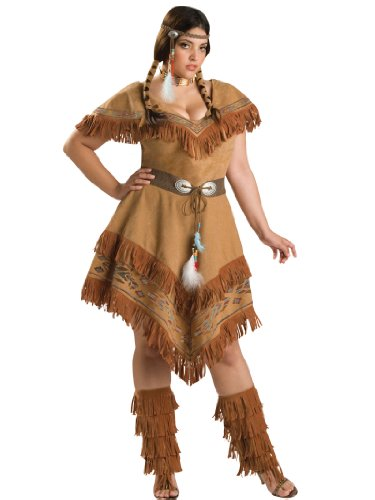 Plus Size Native American Costume Indian Brown Dress Womens Theatrical Costume
