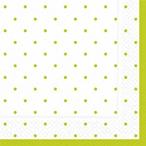 Design Swiss Dot-Lime Green Luncheon Napkin, 20 Napkins per Pack, (Pack of 2)