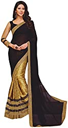 Ambica Lavnya Women's Chiffon And Marble Saree (Ambica Navya 3207_1, Black Golden Colour)
