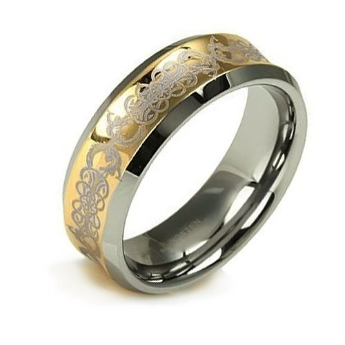 Bling Jewelry Concave Gold Inlay Celtic Tungsten Wedding Band Ring 9mm size 9