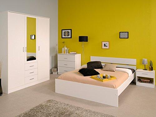 Jugendzimmer Inaco 101 weiß, Schlafzimmer 4-teilig komplett, Bett 140, Kleiderschrank Kommode Nako günstig bestellen