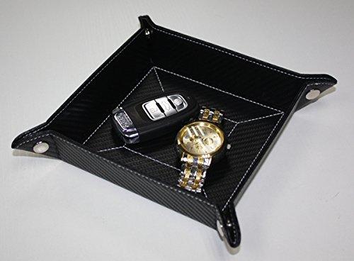 Carbon Fiber Black Mens Key Phone Coin Bedside Box Storage Tray Valet Change (Carbon Fiber Storage Box compare prices)
