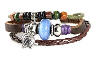 Turtle Bead Leather Zen Bracelet with Iridescent Blue Bead - Adjustable, Fits 5 to 8 Inches, for Men, Women, Teens, Boys and Girls in Gift Box