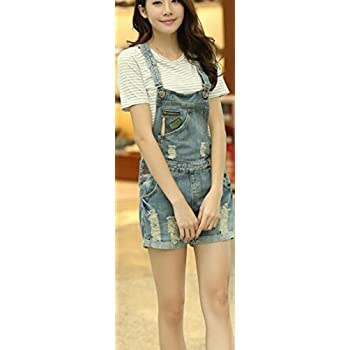 ASL Women Fashion Casual Denim Holes Vintage Overall