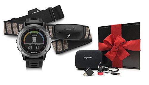 Garmin-fenix-3-Gray-Performer-Bundle-Ultimate-Gift-Box-with-Chest-Strap-HRM-Includes-Multi-Sport-GPS-Fitness-Watch-Chest-HRM-PlayBetter-USB-CarWall-Adapter-Hard-Case-Black-Gift-Box