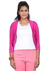 Yaari Spun Viscose Fashion Shrug (Large, Pink)