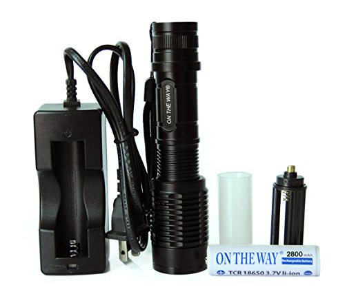 ON THE WAY®1600 Lumens Tactical Adjustable Handheld LED XML T6 5 Mode Adjustable Focus Zoom Tactical Torch AAA/18650 Zoomable Zoom Flashlight Torch Powered By 1Pcs 18650 battery and Charger (Black)