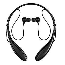 SoundPEATS Bluetooth Headphones Stereo Neckband Wireless Headset Sport Earbuds with Mic (10 Hours Play Time, Bluetooth 4.1, CVC 6.0 Noise Cancelling, Sweatproof)-Dark Black