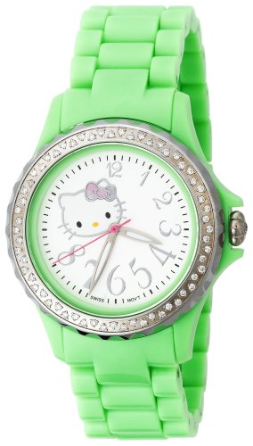 Hello Kitty Women's QWL1632DIANFSVGN Kimora Lee Simmons Diamond Bezel Green Ceramic Watch
