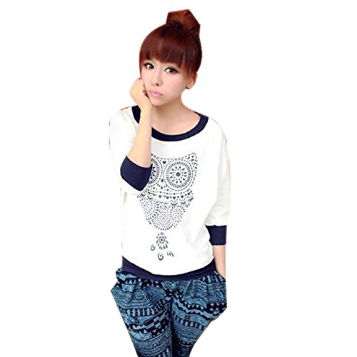 Aokdis Fashion Spotted Owl Pattern Long Sleeve Round Neck Top Blouse T-Shirt (M)
