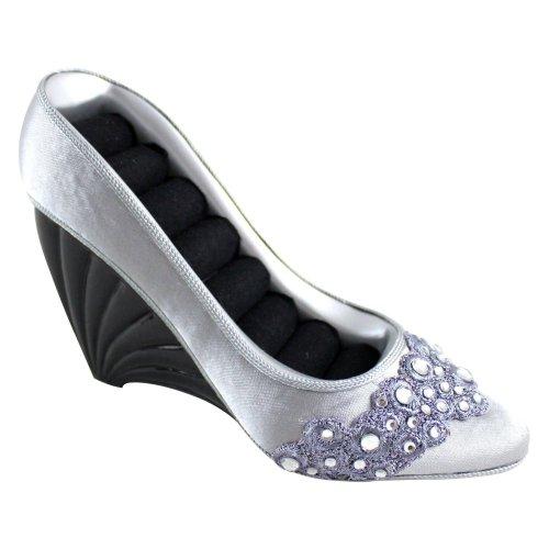 Jacki Design Dazzling Gems Shoe Ring Holder, Silver, Fabric front-155154
