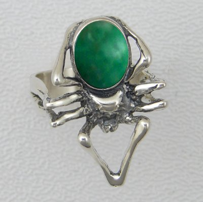 An Impressive Spider Sterling Silver Ring Accented with Genuine Green Turquoise Made in America