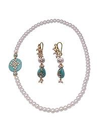 Jewelina Gems Kundan Work Aqua Blue Color Quartz And Pearl Endless Necklace Set For Girls And Women