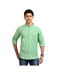 Orange Valley Men's Cotton Slim Fit Casual Shirt ( Green )