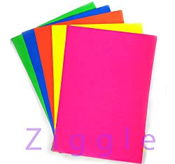 Ziggle colored Pastel Sheets Fluorescent Origamy A4 Paper Sheets Double sided colored (Pack of 100)