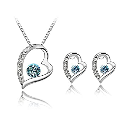 Fashion Womens Jewellery Swarovski Element Crystal Diamond Heart Pendant Necklace and Earrings Studs Set 18K White Gold Plated