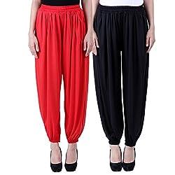 NumBrave Solid Viscose Red & Black Harem Pants Combos of
