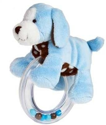 Mary Meyer Sweet Chocolate Puppy Ring Rattle - Blue front-969407