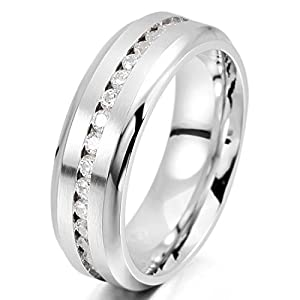 Men's 7mm Stainless Steel Eternity Rings Band CZ Silver Wedding Engagement Promise Size13 from INBLUE Jewelry
