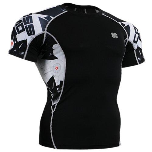 Fixgear Mens Womens Running Compression Base Layer Shirt Tight Black S ~ 2XL