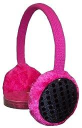 N'ice Caps Girls Sequin Trimmed Adjustable Ear Muffs (fuchsia/black)