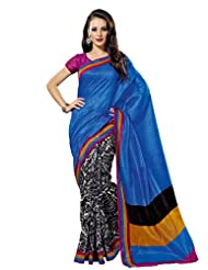 Prafful Silk Bhagalpuri Printed Saree With Unstitched Blouse - B00KNURSIY