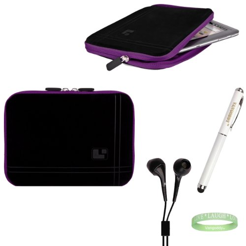 Black And Purple Sleeve, Bubble Like Interior Lining To Prevent Scratches For Your 8Inch Tablet + Electric Geen Vangoddy Bracelet + 3 In 1 Styuls + Black Earbuds!!!