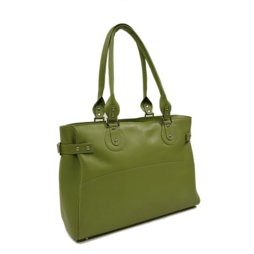 Piel Leather Large Ladies Side Strap Tote, Apple, One Size