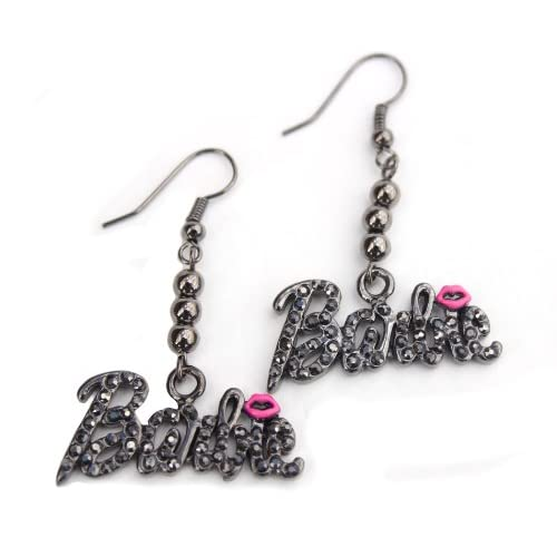 Black Ice Nicki Minaj Barbie French Hook Earrings with Pink Kiss