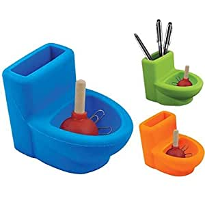 silicone toilet with plunger pen paper clip holder desk organizer fun office. Black Bedroom Furniture Sets. Home Design Ideas