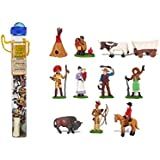 Safari Ltd Wild West TOOB With 11 Hand Painted Toy Figurines Including an Indian Teepee, Indian Woman, Texas Longhorn Bull, Covered Wagon, Buffalo, Indian Chief, Pioneer Woman, Cowboy, Annie Oakley, Cowboy on Horse, and an Indian Brave