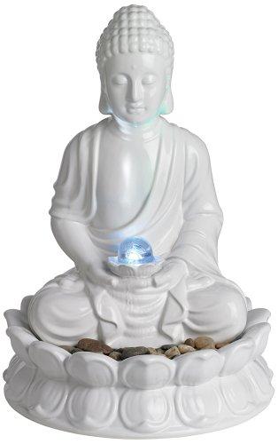 White Ceramic Sitting Buddha Tabletop Fountain