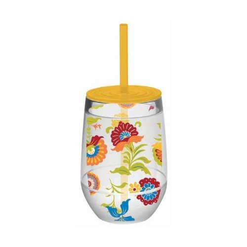 Slant Calypso Multi Color Floral Double Wall Acrylic Stemless Wine Glass With Yellow Lid And Straw